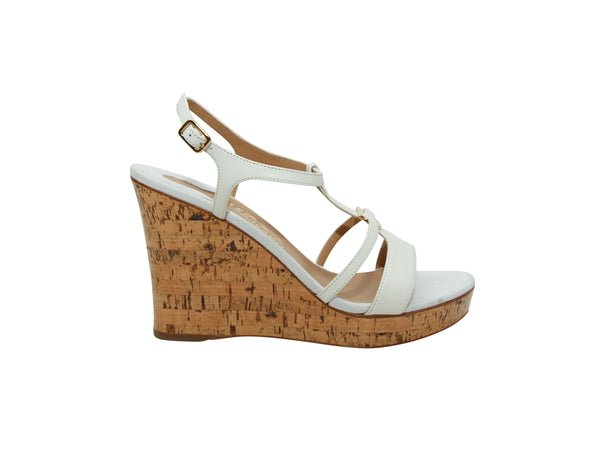 White Salvatore Ferragamo Cork Wedge Sandals