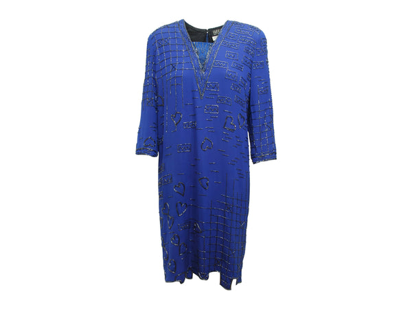 Bright Blue Vintage Fabrice Beaded Shift Dress