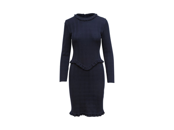 Navy Blue Vintage Givenchy Couture Long-Sleeve Knit Dress