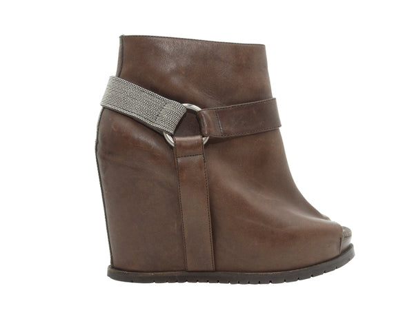 Brown Brunello Cucinelli Leather Wedge Ankle Boots