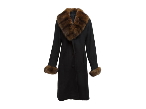 Black Custom Made Loro Piana Cashmere Sable-Trimmed Coat