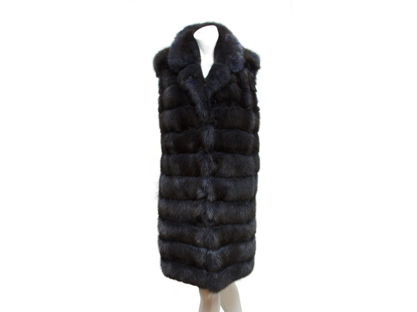 Navy Blue Carmen Marc Valvo Sable Fur Vest