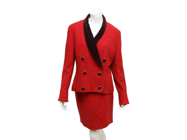Red Vintage Karl Lagerfeld Tweed Skirt Suit Set