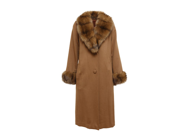 Brown Loro Piana Cashmere Sable-Trimmed Coat