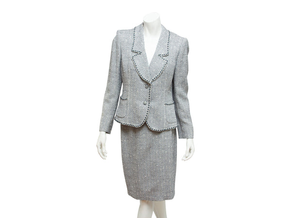 Navy Blue & White Emanuel Ungaro Tweed Skirt Suit Set
