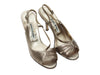 Pewter Manolo Blahnik Metallic Slingback Sandals