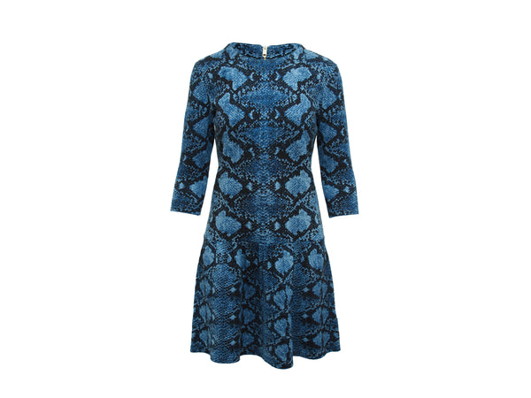 Mineral Blue Burberry London Snakeskin-Print Dress