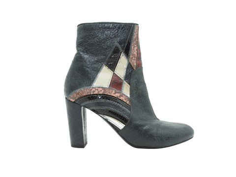 Grey Dries van Noten Distressed Leather Ankle Boots