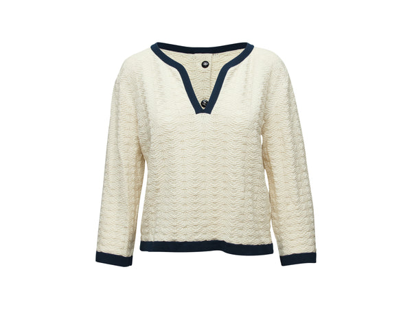 Cream & Navy Chanel V-Neck Sweater