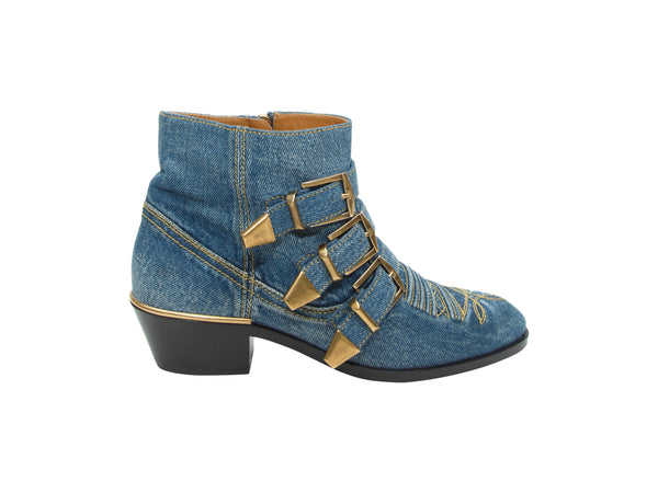 Blue Chloe Susanna Denim Ankle Boots