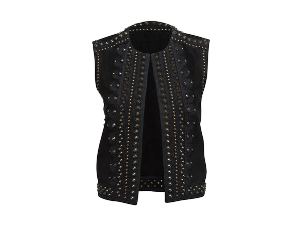 Black Yves Saint Laurent SS 2015 Studded Suede Vest