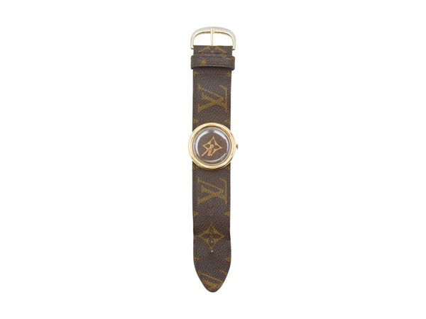 Brown Vintage Louis Vuitton French Company Monogram Watch