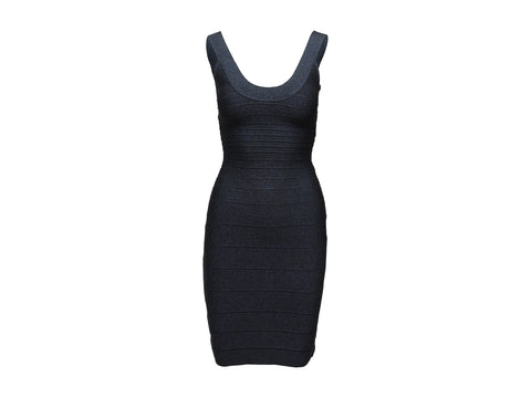Navy Herve Leger Metallic Bandage Dress