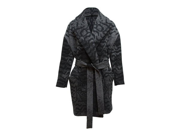Black & Grey Miu Miu Belted Wool Coat