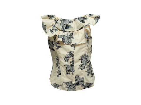 Cream & Navy Sea Floral Patterned Top