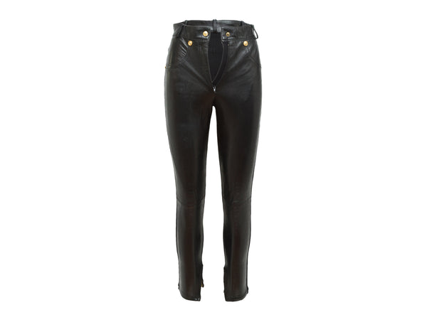 Black Gianni Versace Leather-Paneled Pants