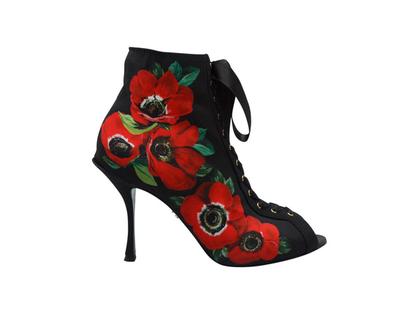 Black & Multicolor Dolce & Gabbana Floral Print Booties