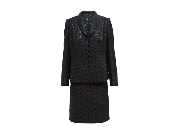 Metallic Black Vintage Givenchy Jacquard Skirt Suit Set