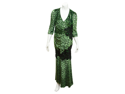 Metallic Green & Black Andrew Gn Embellished Gown