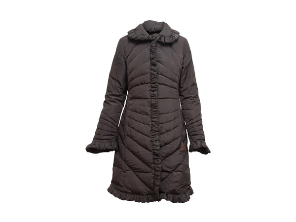 Brown Moncler Ruffle Trim Coat