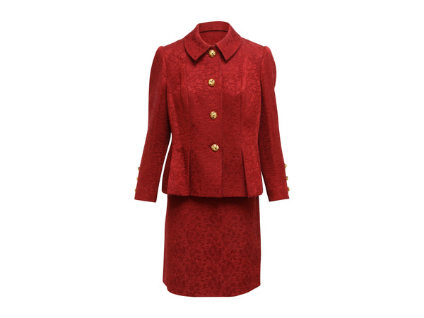 Red Vintage Givenchy Jacquard Skirt Suit Set
