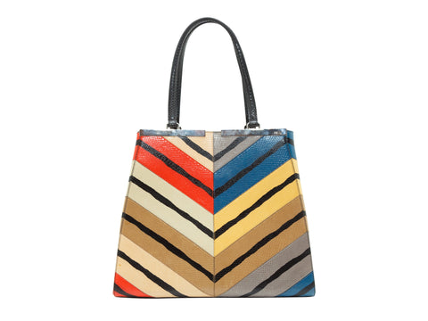 Multicolor Fendi Ayers 3Jours Snakeskin Tote Bag