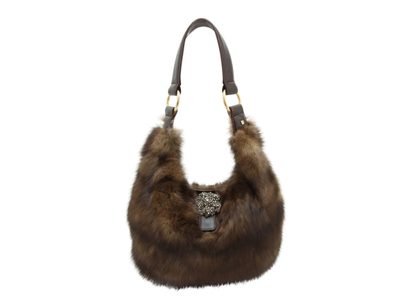 Brown J. Mendel Sable Fur Bag