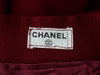 Burgundy Vintage Chanel Wool Knee-Length Skirt