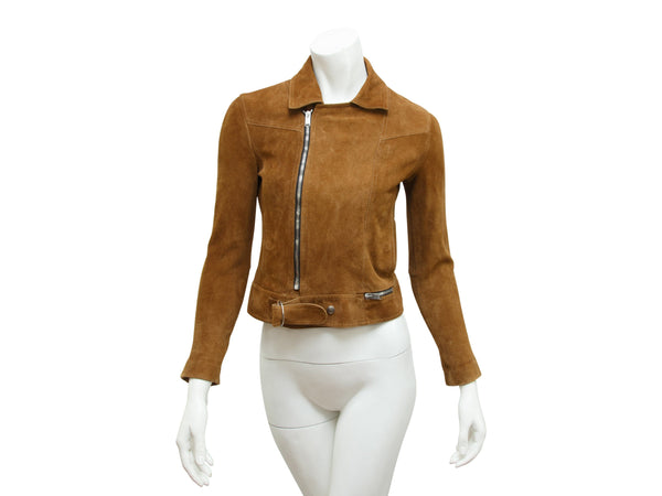 Brown Saint Laurent Cropped Suede Jacket