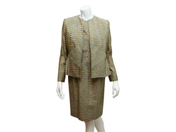 Green & Blue Bill Blass Textured Jacket & Dress Set