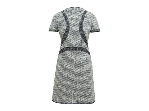 Grey & Multicolor Chanel Tweed Short Sleeve Dress