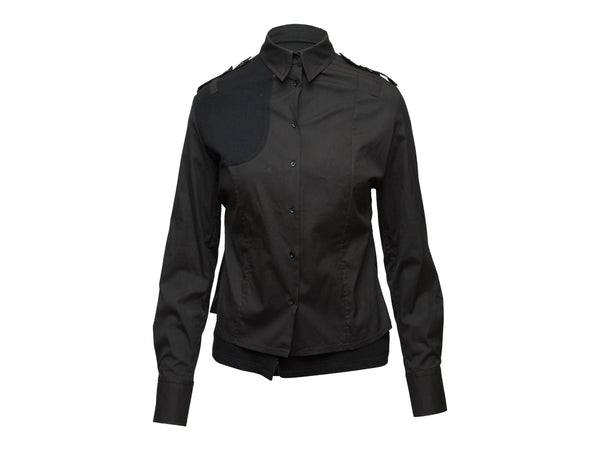 Black Christian Dior Button-Up Top