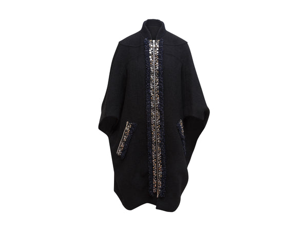 Black Louis Vuitton Cape with Multicolored Stone Trim