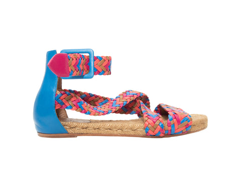 Pink & Multicolor Hermes Woven Leather Espadrille Sandals
