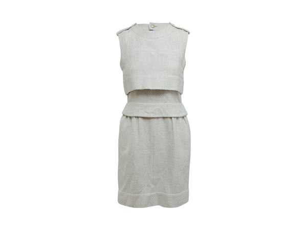 Grey Chanel Sleeveless Tweed Dress