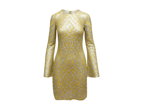 Yellow Naeem Khan Silk Sequin-Embellished Dress