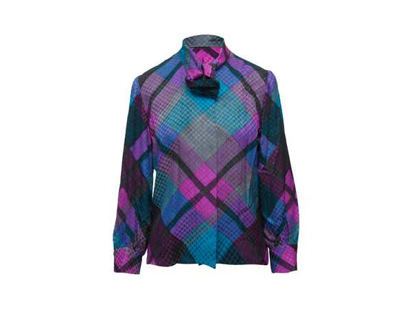 Vintage Purple & Teal Givenchy Silk Plaid Blouse