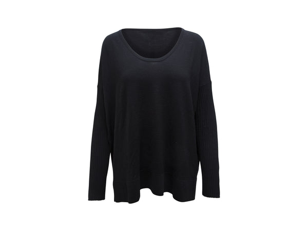 Black The Row Scoop Neck Lightweight Oversized Sweater