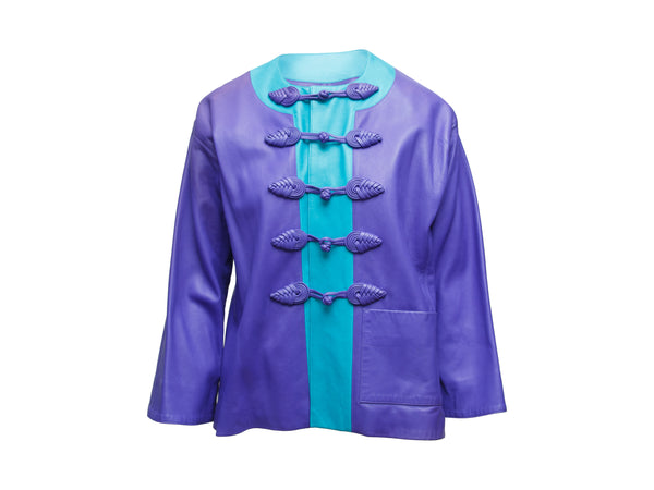 Vintage Yves Saint Laurent Purple & Cerulean Fall/Winter 1993 Leather Jacket