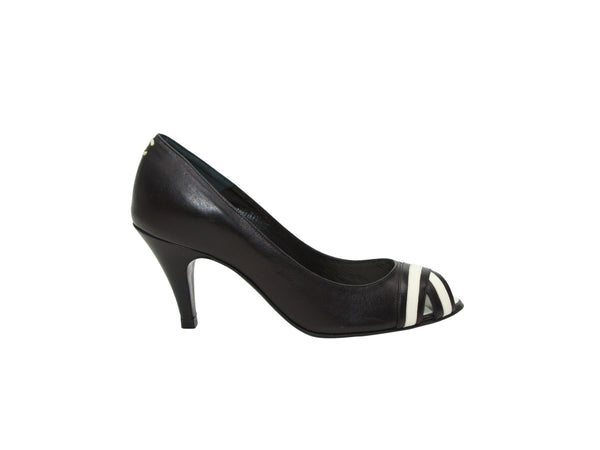 Black & White Chanel Peep-Toe Pumps