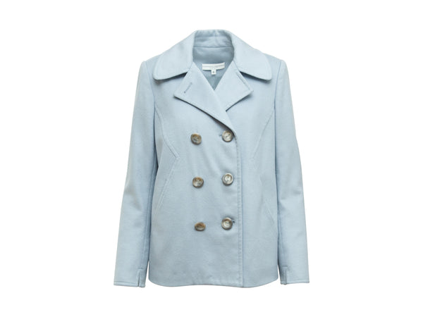 Light Blue Carolina Herrera Wool/Silk-Blend Peacoat