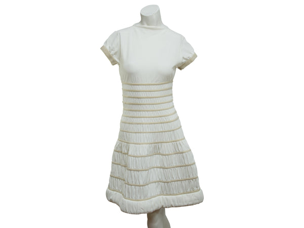 White Alaia Stretch Fit-and-Flare Dress