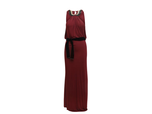 Maroon Gucci Wing Embellished Gown