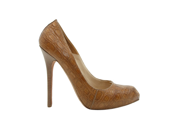 Tan Alexander McQueen Crocodile Pumps