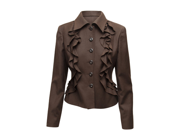 Brown Valentino Wool & Cashmere Ruffle Jacket