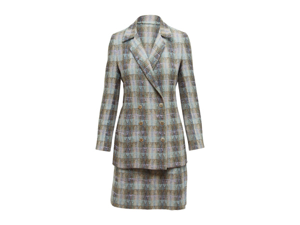 Light Blue & Multicolor Chanel Boutique Plaid Skirt Suit