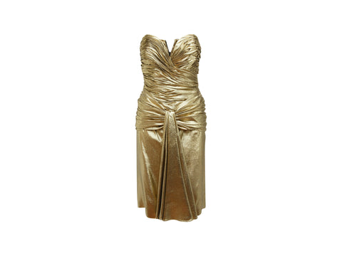 Metallic Gold Vicky Tiel Ruched Cocktail Dress