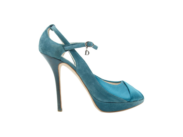 Teal Christian Dior Suede & Satin Platform Pumps