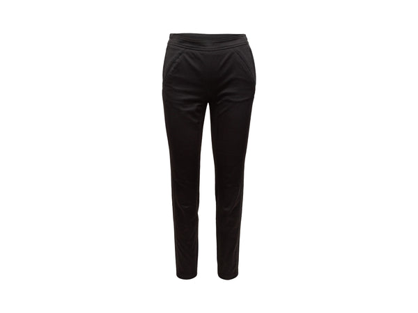 Vintage Black Hermes Cotton Straight-Leg Pants