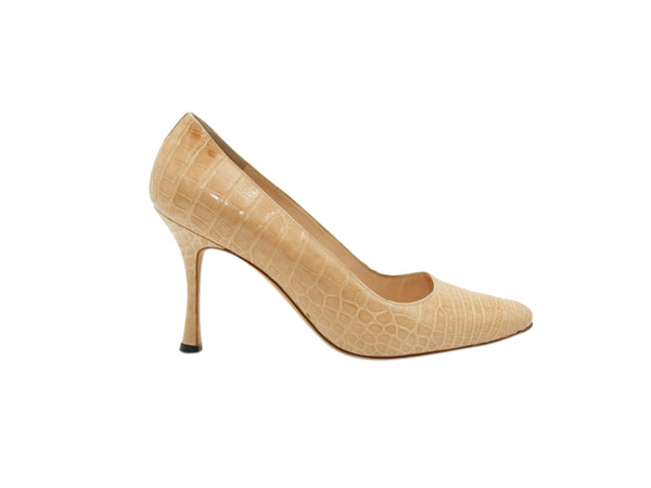 Tan Manolo Blahnik Alligator Pumps